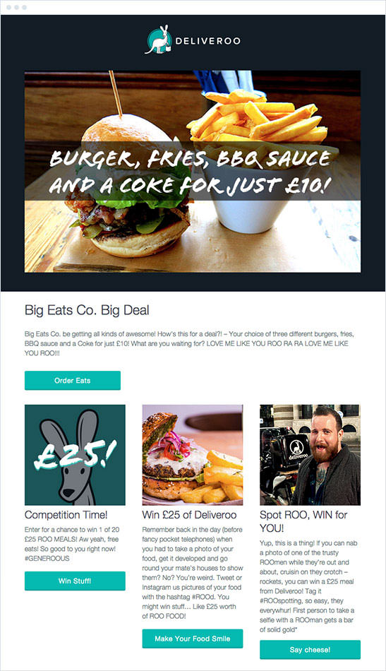 Email Marketing - Deliveroo Marketing Offers Email
