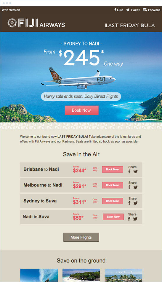 Email Marketing - Fiji Airways Marketing Offers Email