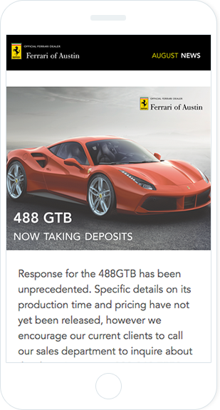 Email Marketing - Ferrari Mobile Email Newsletter