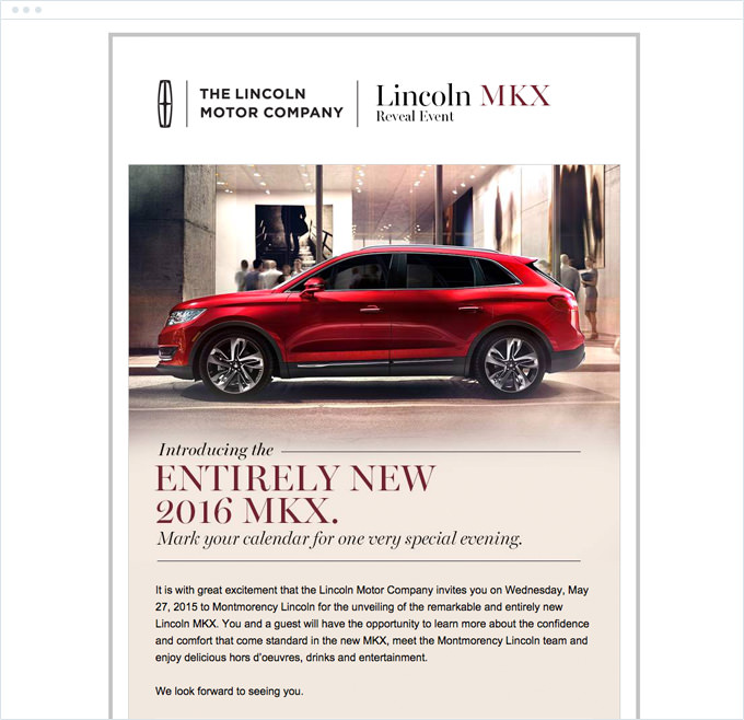 Lincoln Motors - Event Invitation Email