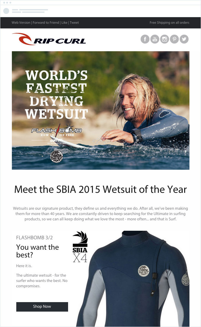 Rip Curl - Email Campaign - Relevant to Subscribers