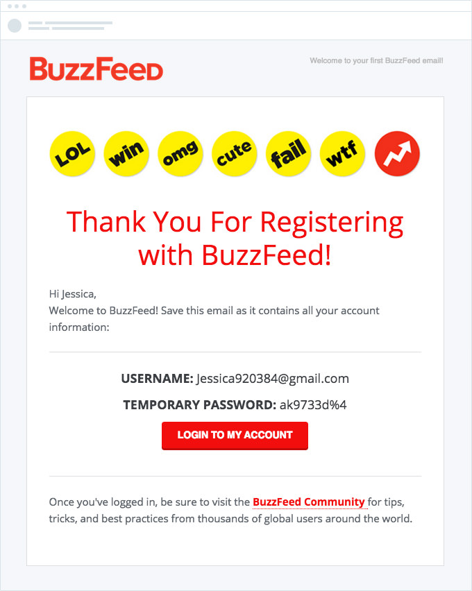Buzzfeed - Registration Email