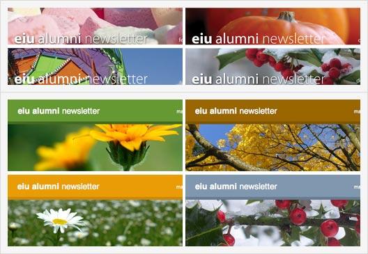 [screenshots (fig. 2): seasonal variations in original and new templates]