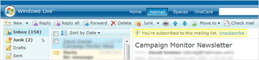 A screenshot of the new unsubscirbe functionality in Hotmail