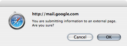 [Gmail screenshot: You are submitting information to an external page. Are you sure?]