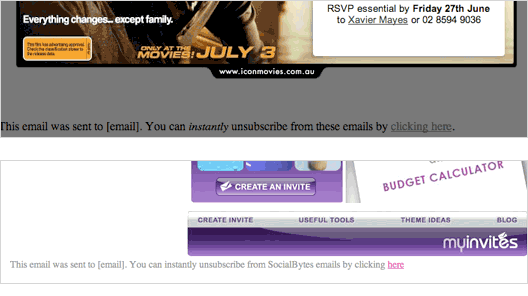 Samples of two campaigns with default unsubscribe links