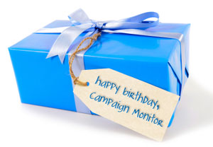 A birthday present labeled 'Happy Birthday, Campaign Monitor