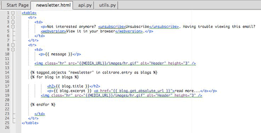 Screenshot of the templating system