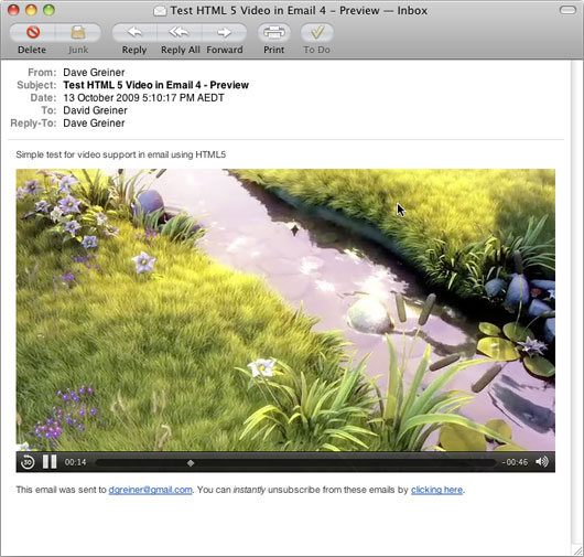 HTML5 Video in Apple Mail