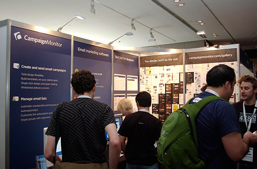 The Campaign Monitor booth at Web Directions