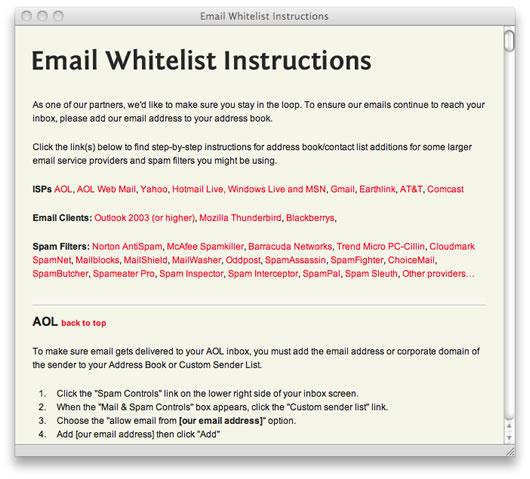 Whitelist instructions