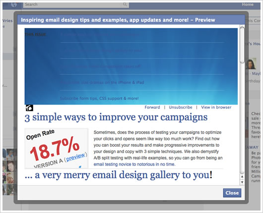 Campaign Monitor newsletter in Facebook