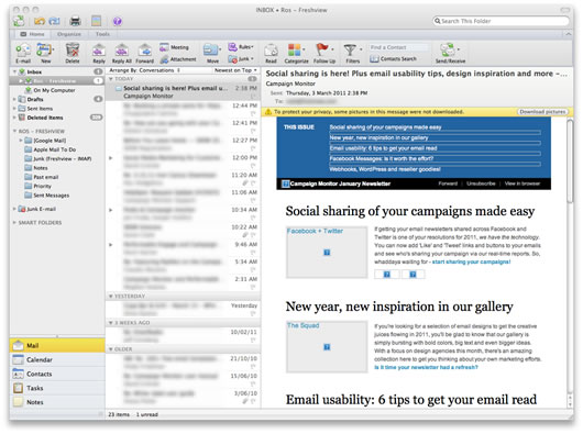 First look at Outlook 2011