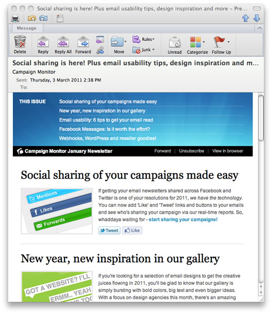 Email with images on