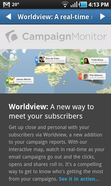 The mobile optimized email on the Android email client