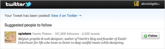 Screenshot of Twitter recommendation