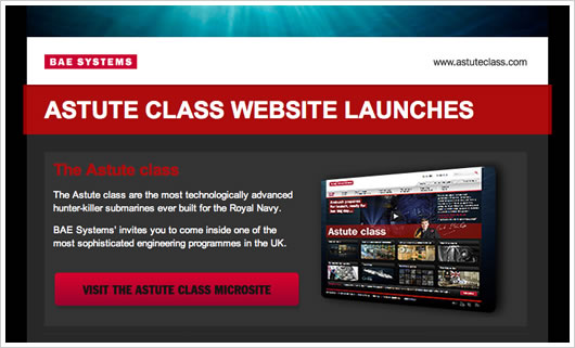 The BAE Systems microsite launch email campaign