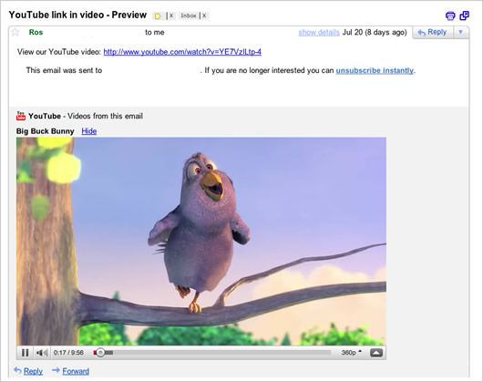 YouTube video in Gmail