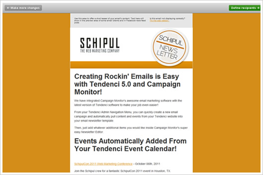 Email template updated in Tendenci