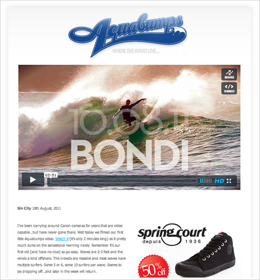An Aquabumps newsletter with video