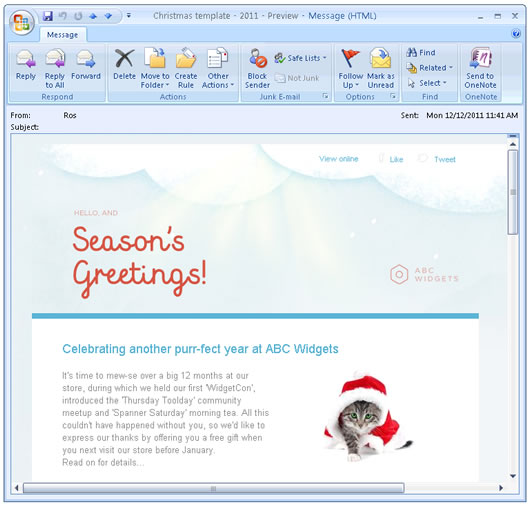 Template in Outlook 2007