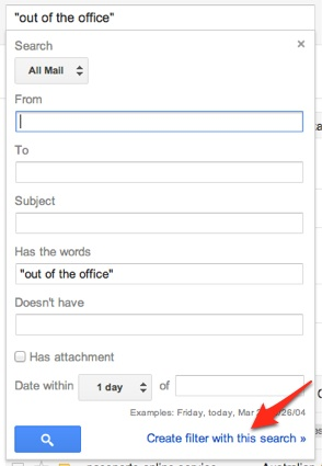 Creating a filter in Gmail