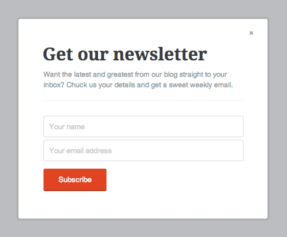 Example subscribe form modal