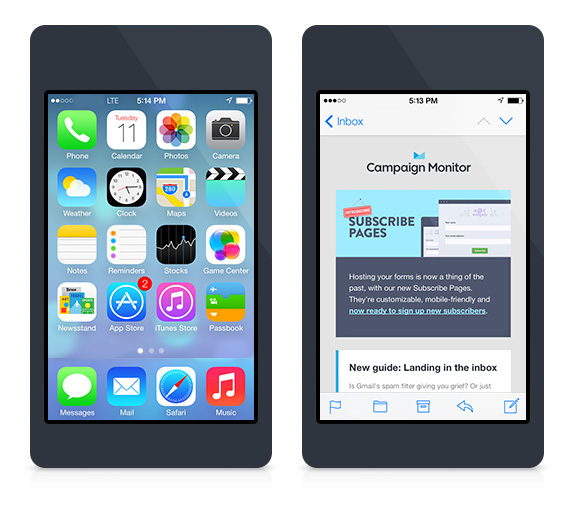Campaign Monitor newsletter on iOS 7 Mail