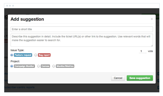 Suggestion Tracker in the browser