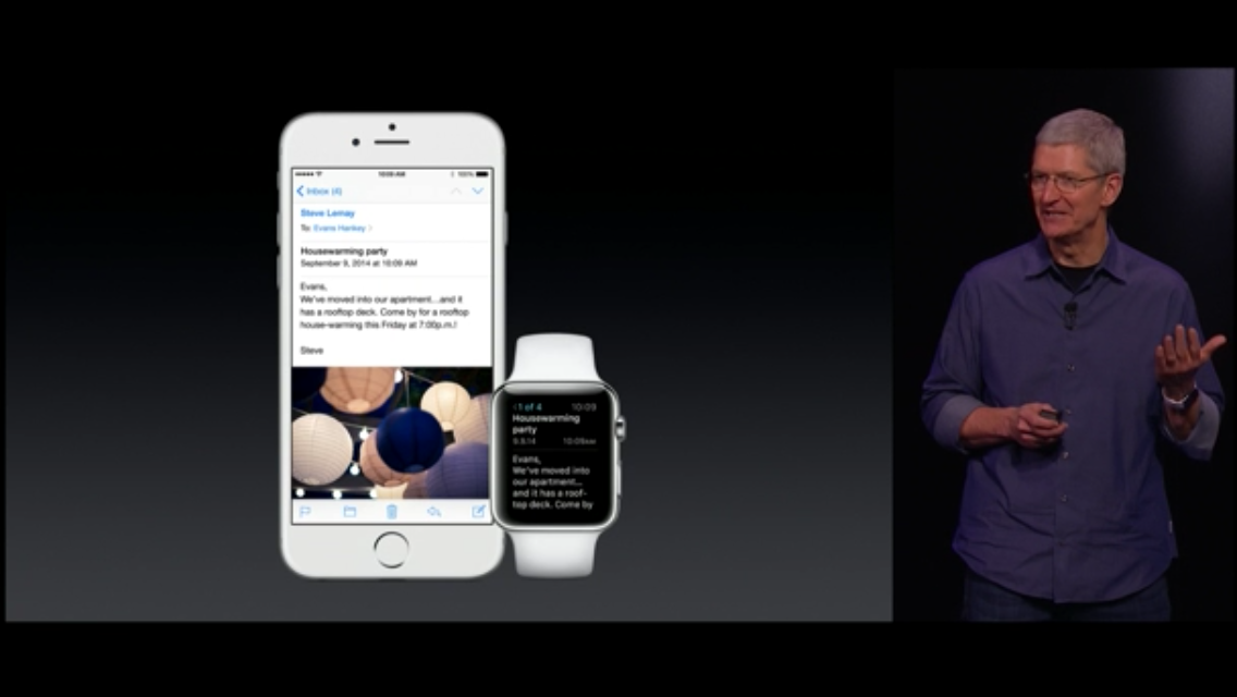 Tim Cook announcing the Watch and email client