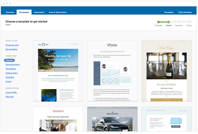 Featured email templates