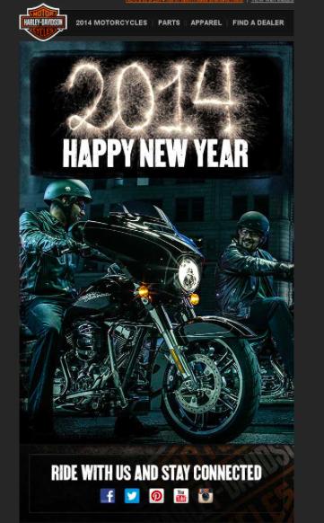 Harley Davidson holiday email example