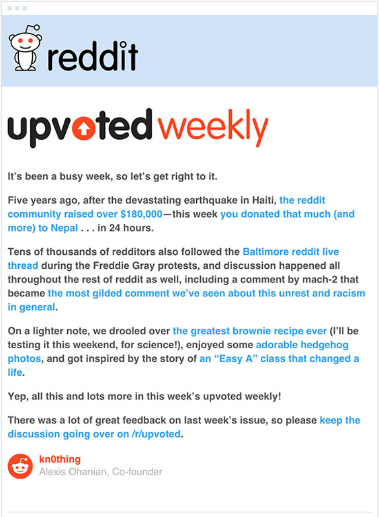 Reddit email example