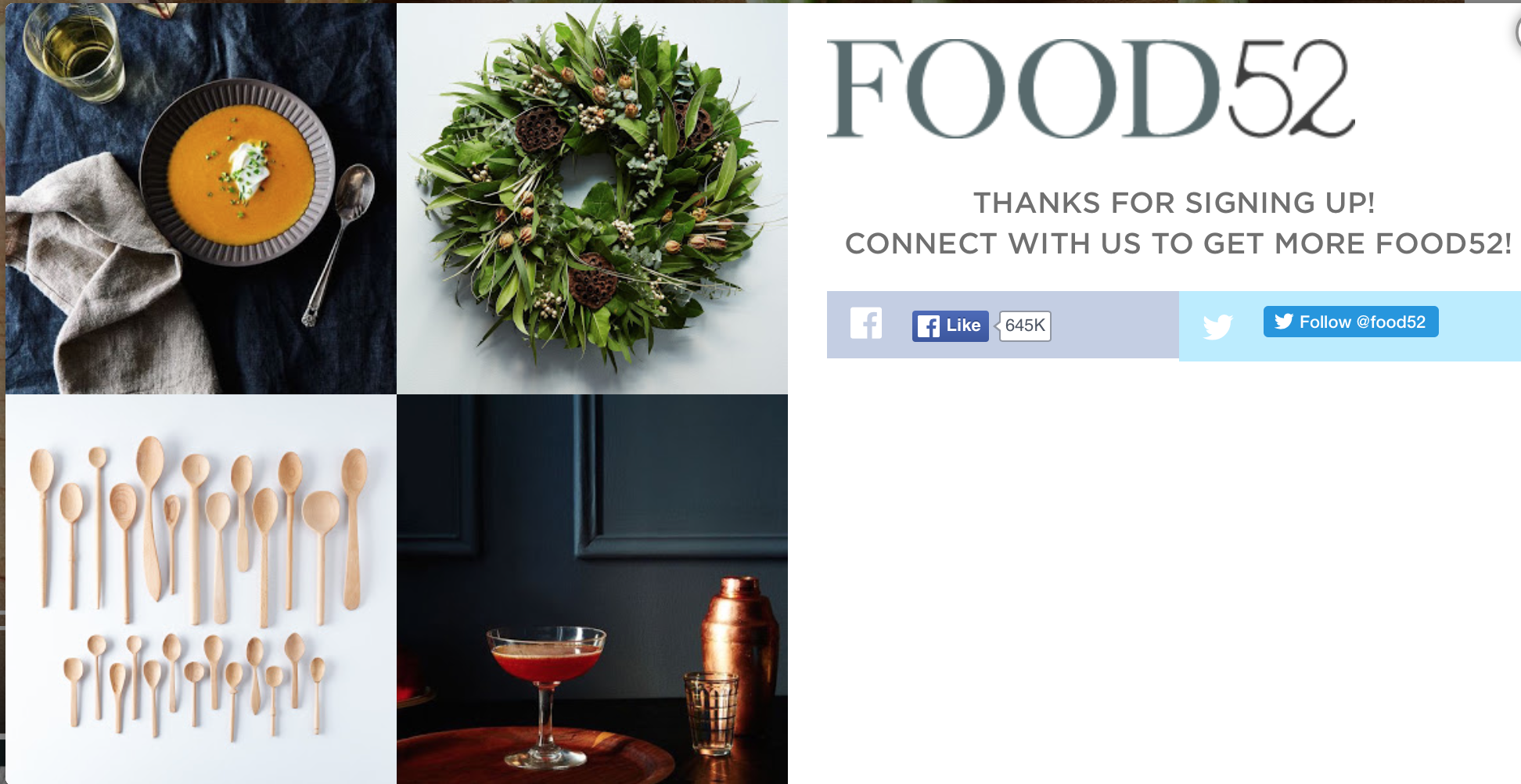 Food 52 welcome email subscribe confirmation
