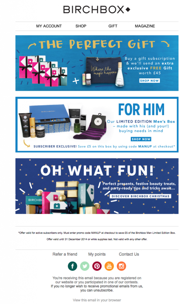 BirchBox holiday email example