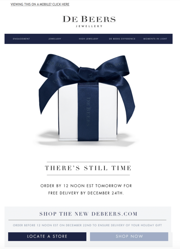 De Beers holiday email example