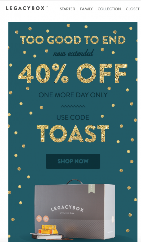 Legacy box holiday email example