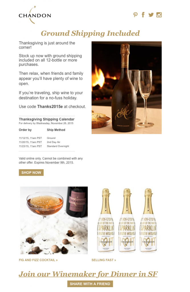 Chandon holiday email subject line example