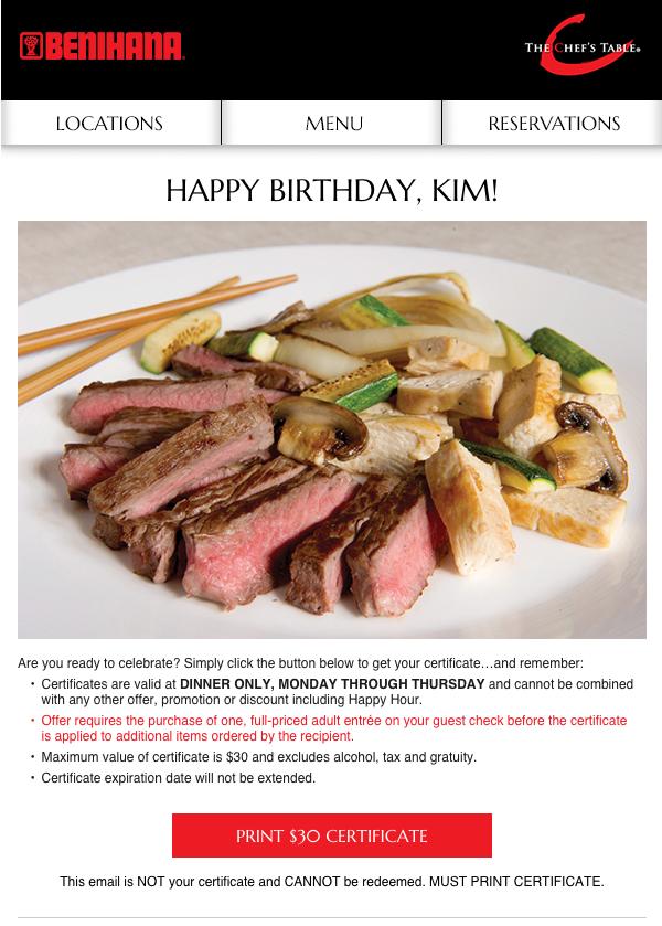 Birthday email example from Benihana