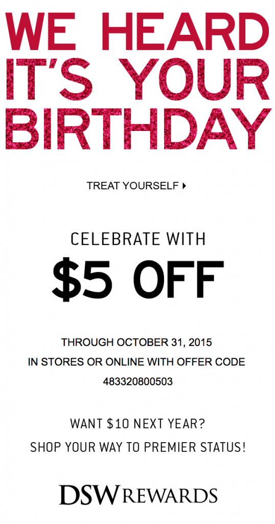 Birthday email example from DSW