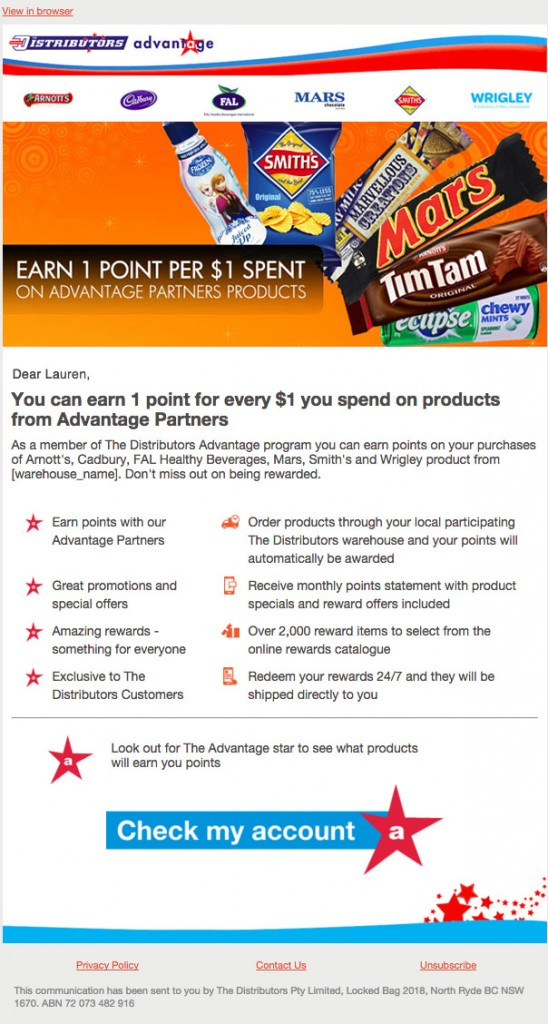 Distributor's Advantage email example