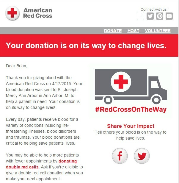 Red Cross thank you email example - nonprofit marketing emails