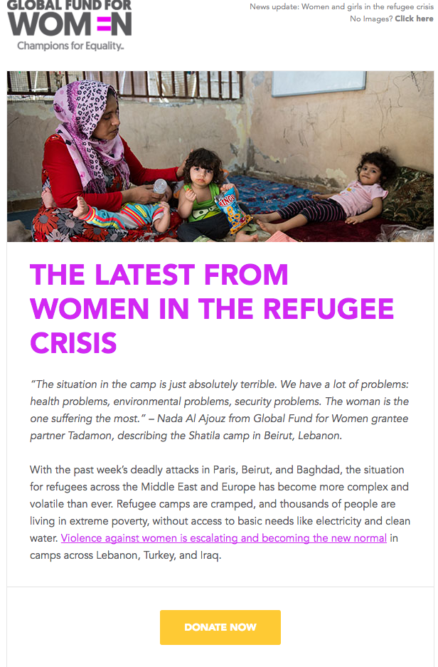 Global Fund for Women nonprofit email example - nonprofit marketing emails