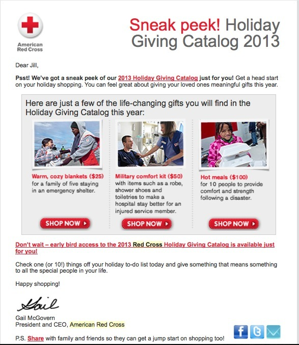 Red Cross gift guide example - nonprofit marketing emails
