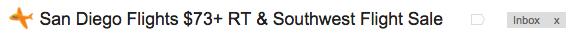 email subject line from Airfare watchdog