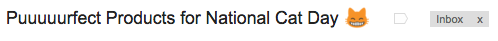 Email subject line example from Product Hunt