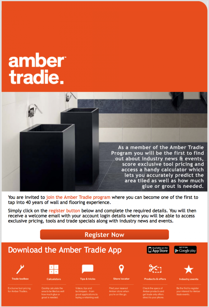 amber tradie email example
