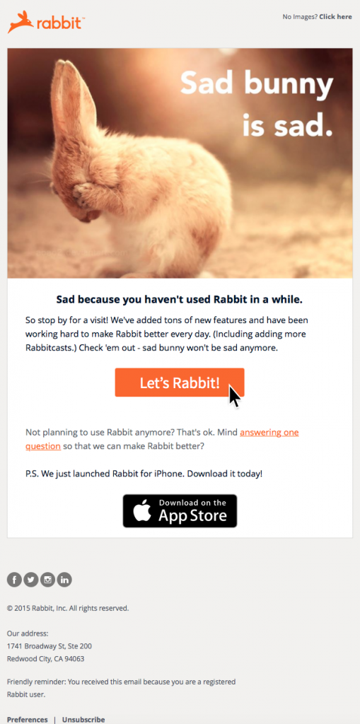 Re-engagement campaign example from Rabbit