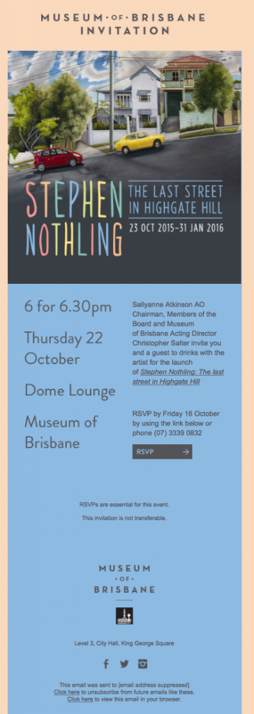 the Museum of Brisbane email example - nonprofit marketing emails