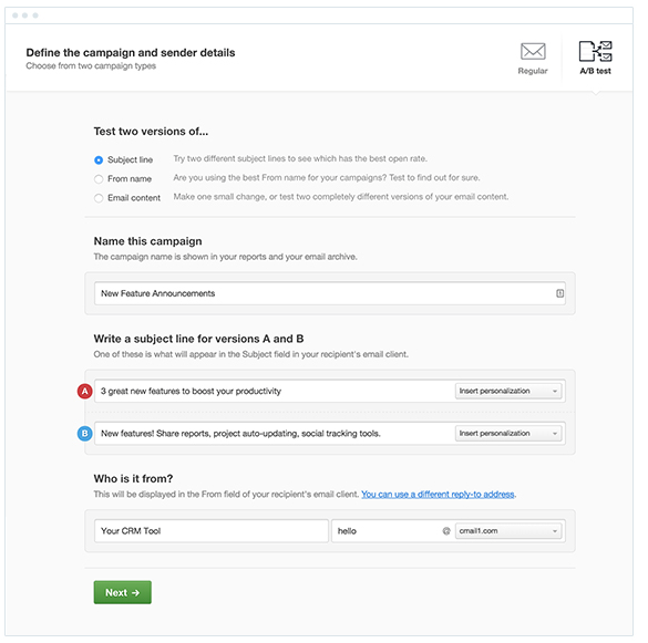 A/B test email subject line length using Campaign Monitor